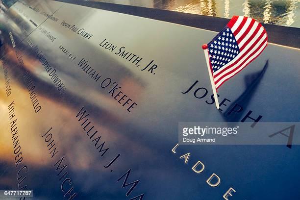 Detail of memorial pool at 9/11 Memorial Plaza