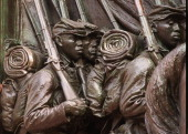 Detail of Memorial to Robert Gould Shaw and 54th Regiment at the corner of Boston Common across from the Mass State House