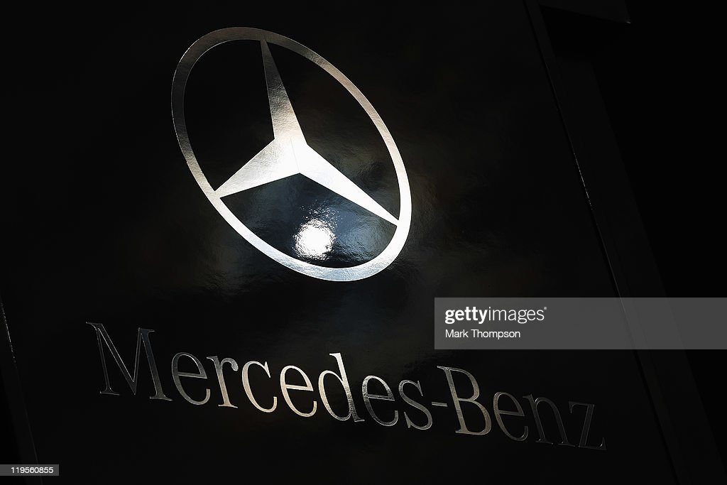 Detail of Mercedes Benz logo is seen during previews to the German Formula One Grand Prix at the Nurburgring on July 21 2011 in Nurburg Germany