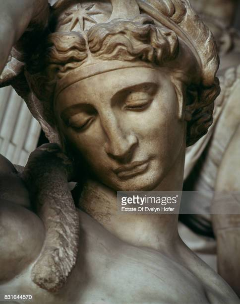 Detail of Michelangelo's sculpture 'Night' in the Medici Chapel Florence 1975