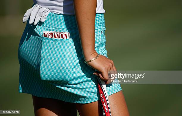 Detail of Michelle Wie's course book which reads 'Nerd Nation' as she stands on the 13th green following the second round of the LPGA LOTTE...