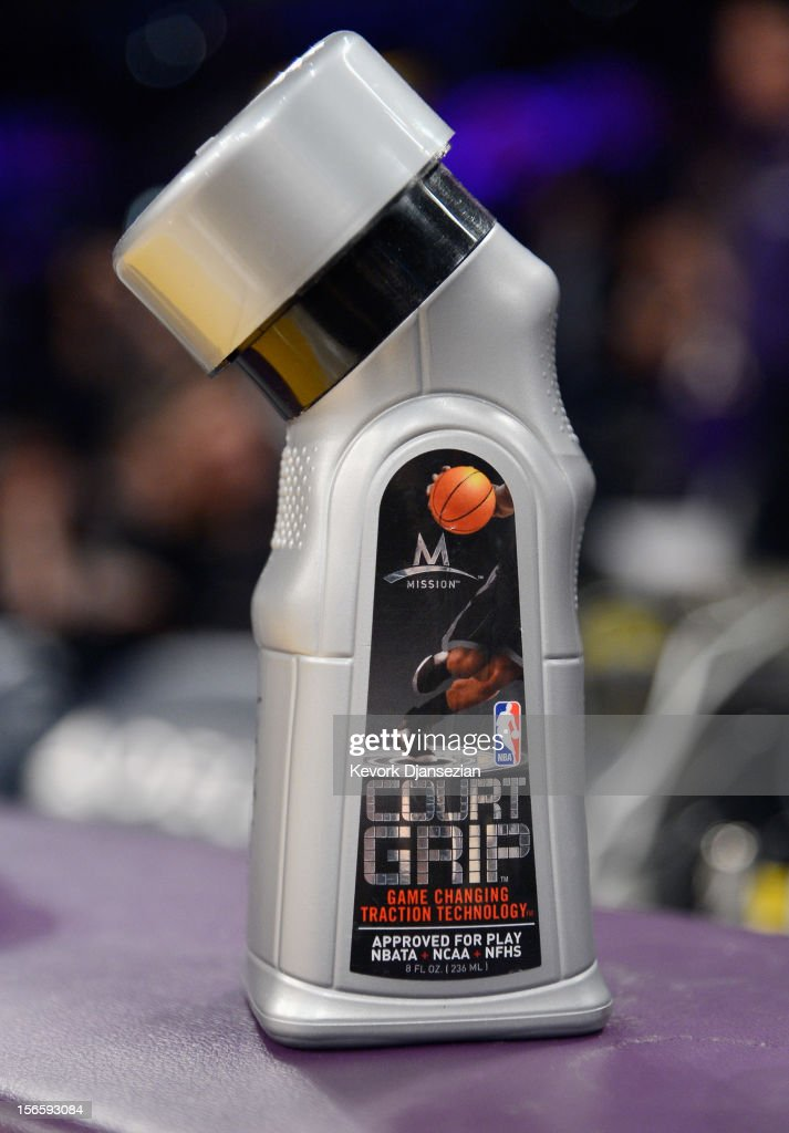A detail of Mission Court Grip is seen on the scorer's table during the Los Angeles Lakers and Phoenix Suns basketball game at Staples Center on November 16, 2012 in Los Angeles, California.