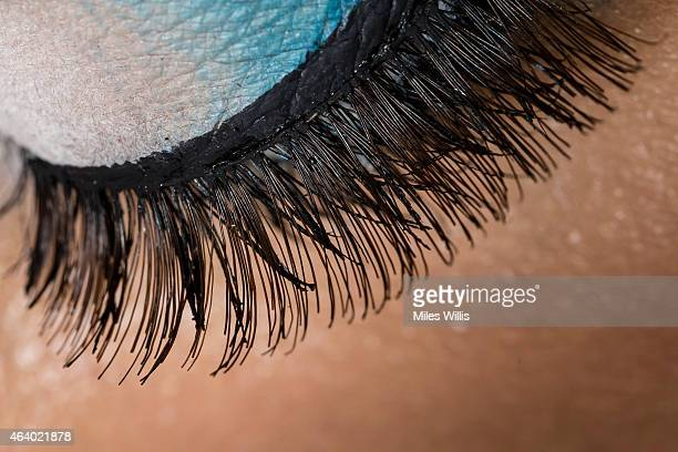 Detail of models eyelashes during Fashion East at London Fashion Week Fall/Winter 2015/16 at ICA on February 20 2015 in London England