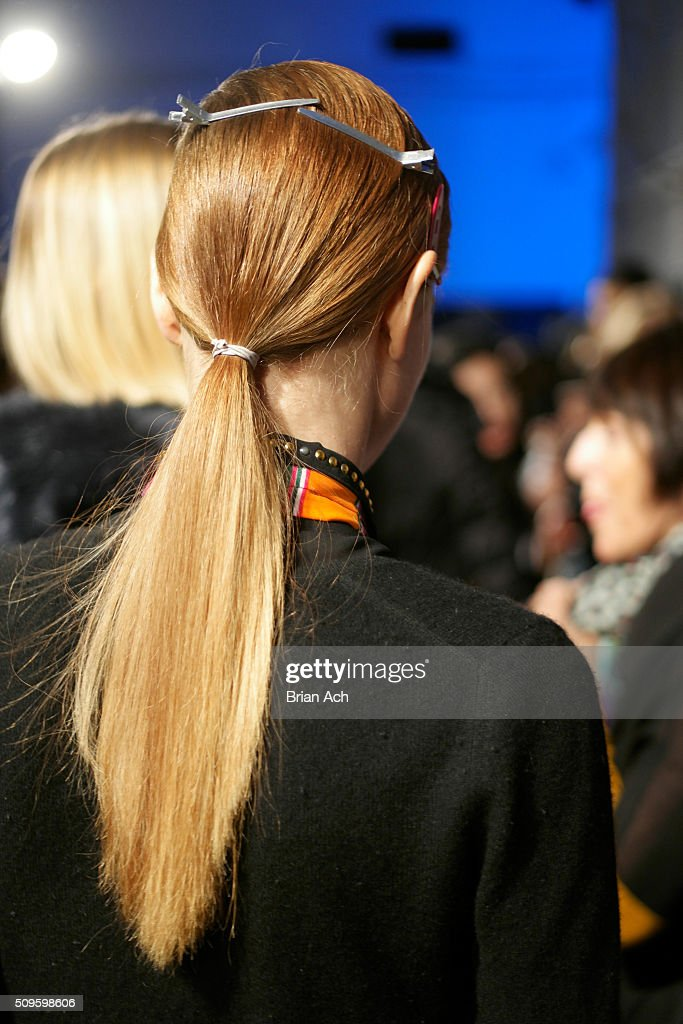 A detail of models hair as she prepares backstage at the Marissa Webb Fall 2016 fashion show during New York Fashion Week: The Shows at The Gallery, Skylight at Clarkson Square on February 11, 2016 in New York City.