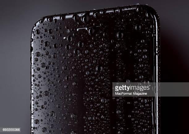 Detail of moisture beads on Apple iPhone 7 smartphone taken on November 2 2016