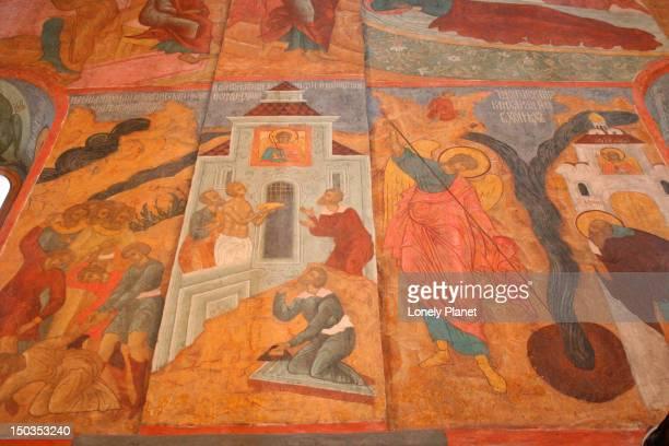 Detail of mural inside Archangel Cathedral, Kremlin.