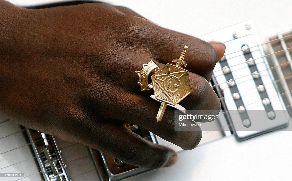 A detail of musician Petite Noir's ring as he performs during the 2013 Northside Festival at McCarren Park on June 16, 2013 in the Brooklyn borough of New York City.