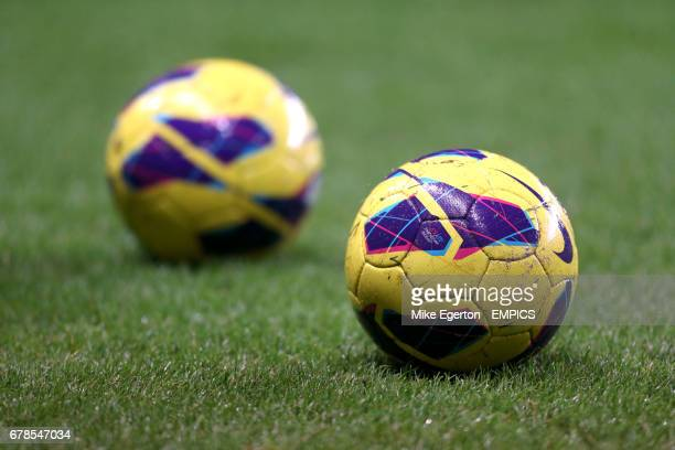 Detail of Nike Barclays Premier League official winter match balls on the pitch before the game