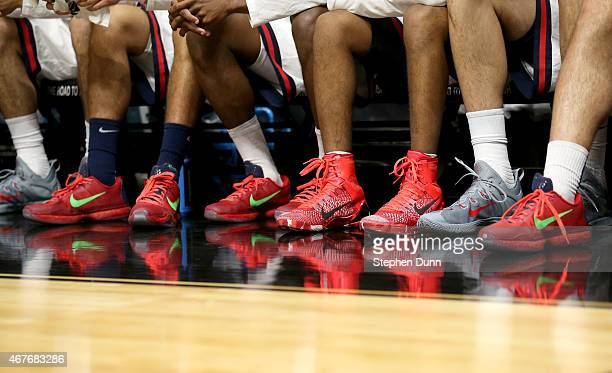Detail of NIKE shoes seen worn by the Arizona Wildcats bench during the West Regional Semifinal of the 2015 NCAA Men's Basketball Tournament at...