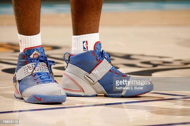 A detail of Nike sneakers worn by LeBron James of the Eastern Conference during the 2008 NBA AllStar Game part of 2008 NBA AllStar Weekend at the New...