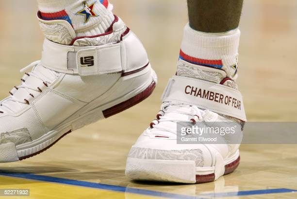 A detail of Nike sneakers worn by LeBron James of the Sophmore Team are seen in the got milk Rookie Challenge during 2005 NBA AllStar Weekend at...