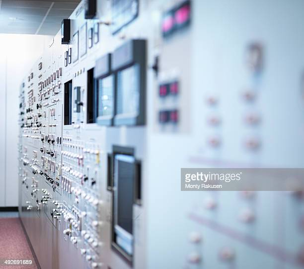 Detail of nuclear power station control room simulator, close up
