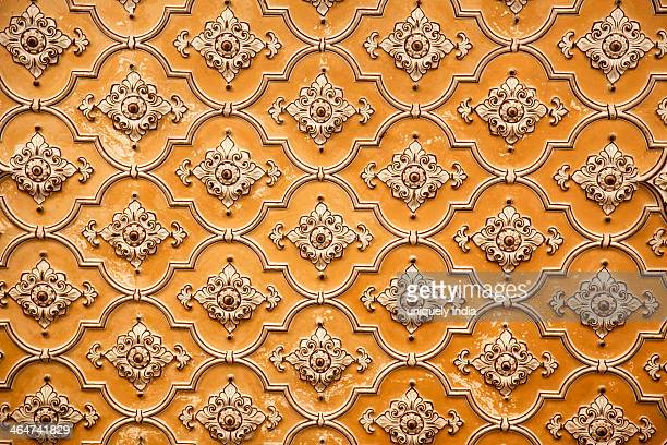 Detail of of a carved wall of a palace, Chowmahalla Palace, Hyderabad, Andhra Pradesh, India