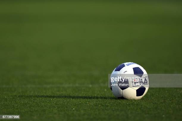 Detail of official Blue Square Premier match balls on the pitch during the warm up