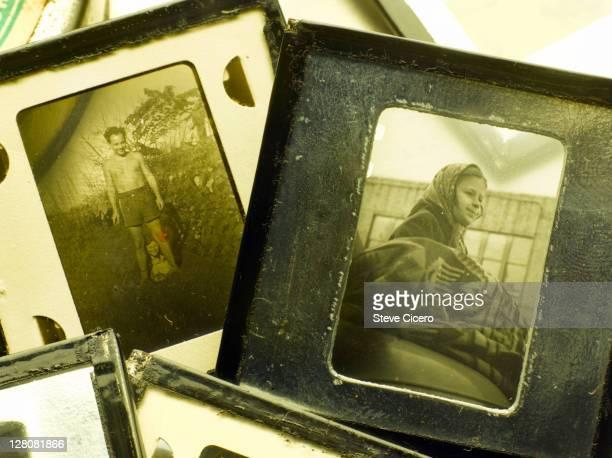 Detail of old family slides