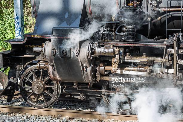 Detail of old steam engine locomotive, Copenhagen, Denmark