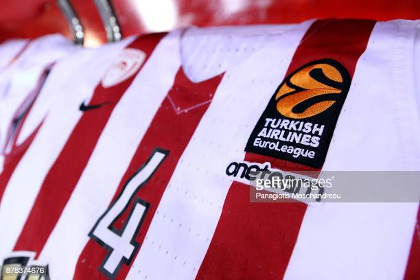 Detail of Olympiacos' jersey before the 2017/2018 Turkish Airlines EuroLeague Regular Season Round 8 game between Olympiacos Piraeus and Crvena...