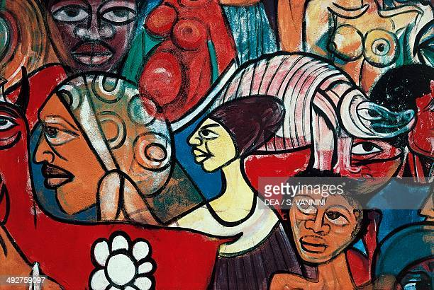 Detail of one of the murals on the city walls of Maputo Mozambique