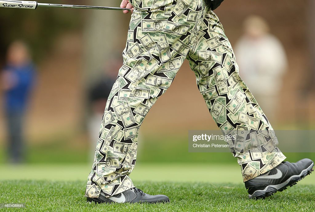 Detail of pants worn by John Daly as he walks on the 17th green during the first round of the AT&T Pebble Beach National Pro-Am at Spyglass Hill Golf Course on February 6, 2014 in Pebble Beach, California.