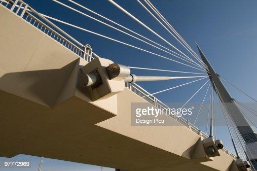 Detail of pedestrian bridge, Esplanade Riel, Winnipeg, Manitoba, Canada : Stock-Foto