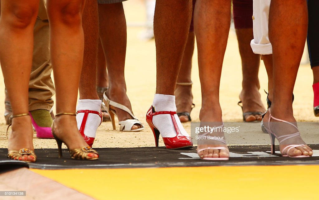 A detail of people wearing high heeled shoes as they take part in a Guinness World Record attempt for the largest amount of people running in high heels on February 14, 2016 in Melbourne, Australia. The World's Largest High Heel Race 2016 raised funds for the The Warwick Cancer Foundation. The current record is 967 people, completed in Indiana, USA in 2010.