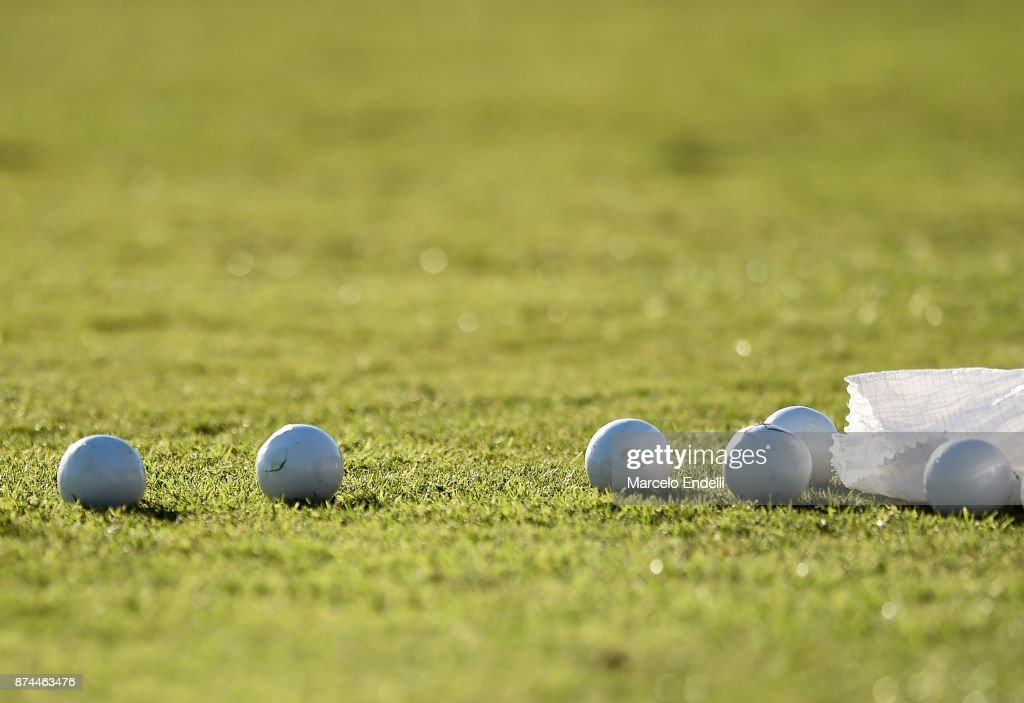 Detail of polo official balls during a match between La Dolfina and La Albertina as part of the HSBC 124°° Argentina Polo Open at Campo Argentino de Polo on November 11, 2017 in Buenos Aires, Argentina.
