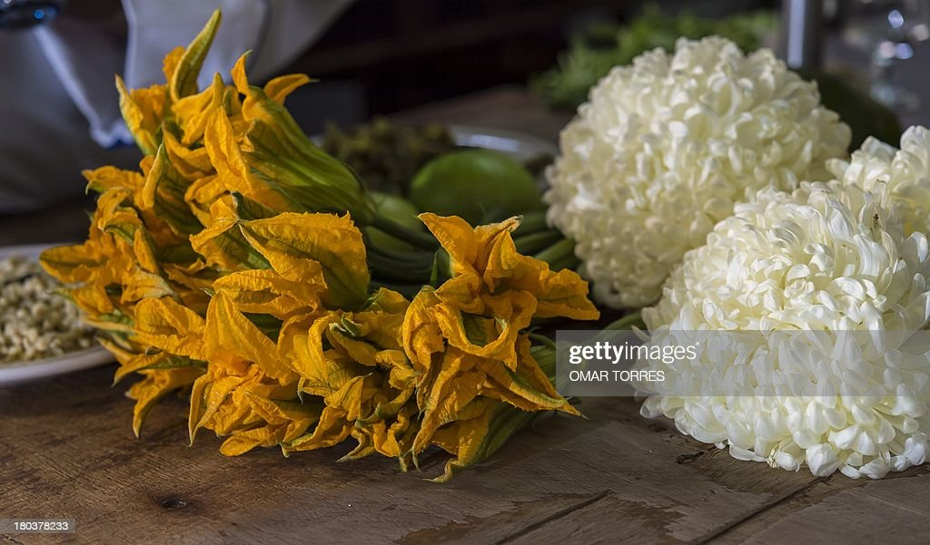 Detail of pumpkin flowers and Chrysantemums used to prepare plates with mosquito and ant eggs at Don Chon restaurant's kitchen on August 18, 2013. The Restaurant Bar Don Chon, in downtown Mexico City, was founded in 1924 specializes in exotic Mexican food.
