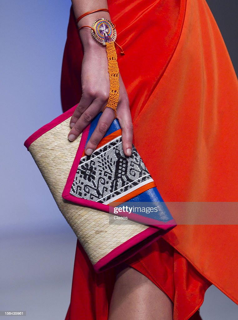 Detail of purse during the Lydia Lavin Spring/Summer 2013 collection at Carpa Santa Fe on November 14, 2012 in Mexico City, Mexico.