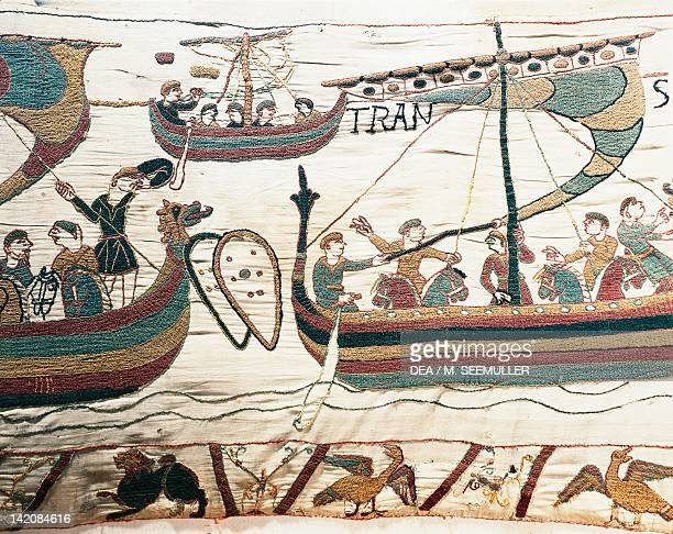 Detail of Queen Mathilda's Tapestry or Bayeux Tapestry depicting William the Conqueror crossing the Channel France 11th century