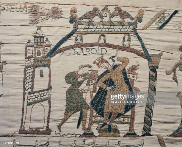 Detail of Queen Mathilda's Tapestry or Bayeux Tapestry depicting astrologers signalling the presence of a comet bad omen for King Harold France 11th...