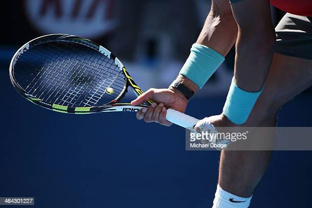 Detail of racquet as Rafael Nadal of Spain prepares to return serve in his quarterfinal match against Grigor Dimitrov of Bulgaria during day 10 of...