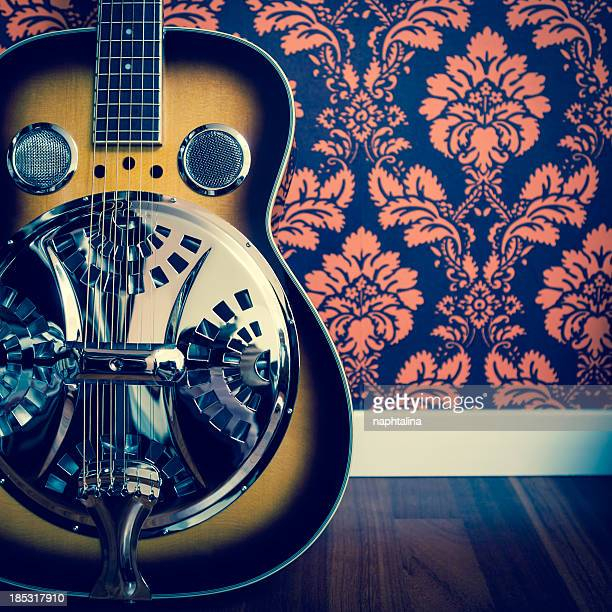 Detail of resonator guitar and damask wall