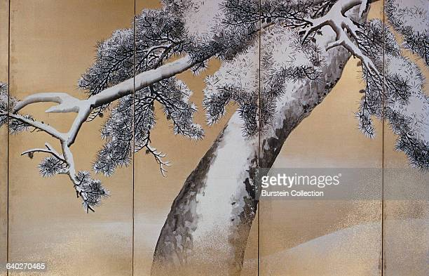 Detail of Right Screen from Pine Trees in Snow by Maruyama Okyo