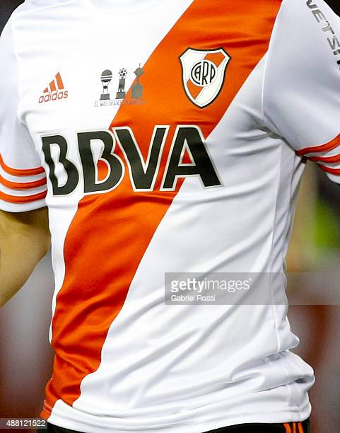 Detail of River Plate´s jersey during a match between River Plate and Boca Juniors as part of 24th round of Torneo Primera Division 2015 at...