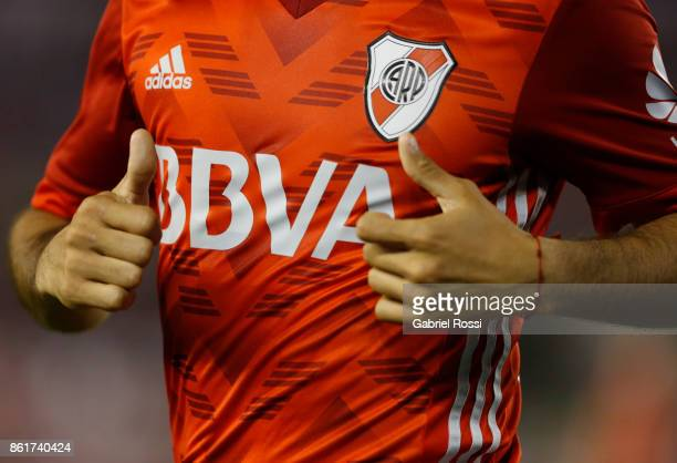 Detail of River Plate's jersey during a match between River Plate and Atletico de Tucuman as part of Superliga 2017/18 at Monumental Stadium on...