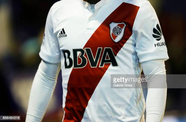 Detail of River Plate's jersey during a match between Tigre and River Plate as part of Superliga 2017/18 at Jose Dellagiovanna Stadium on October 01...