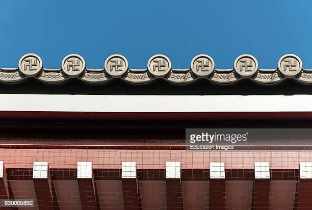 Detail of roof Sensoji Temple in Asakusa Tokyo Japan