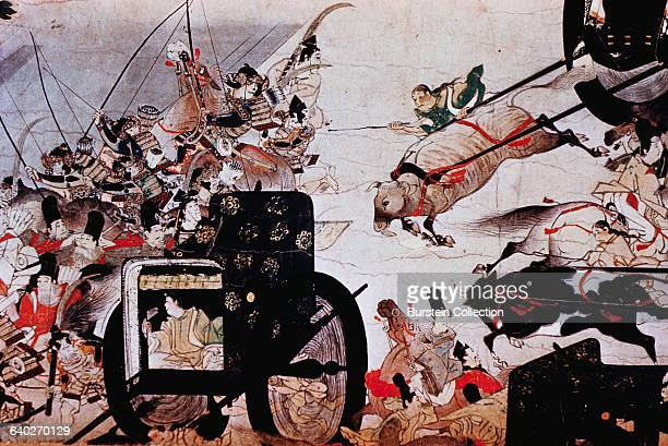 Detail of Samurai Protecting a Royal Carriage from a Scroll Painting of The Burning of the Sanjo Palace