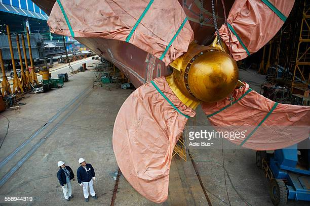 Detail of ship in shipyard, GoSeong-gun, South Korea