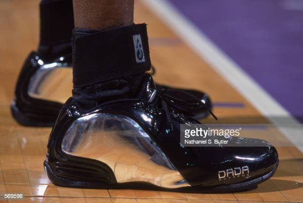 Detail of shoes belonging to Chris Webber of the Sacramento Kings during game 1 of the Western Conference Semifinals during the 2002 NBA Playoffs...