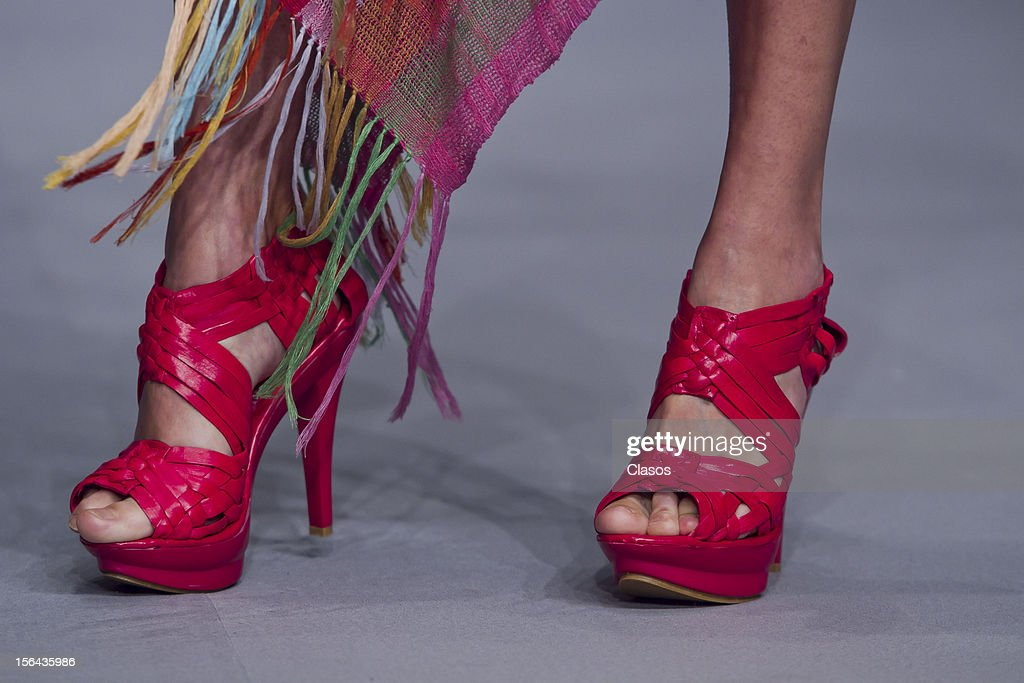 Detail of shoes during the Lydia Lavin Spring/Summer 2013 collection at Carpa Santa Fe on November 14, 2012 in Mexico City, Mexico.