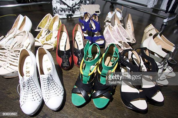 Detail of shoes from designer Gwen Stefani's Spring 2010 fashion line LAMB brand in New York City on September 9 2009