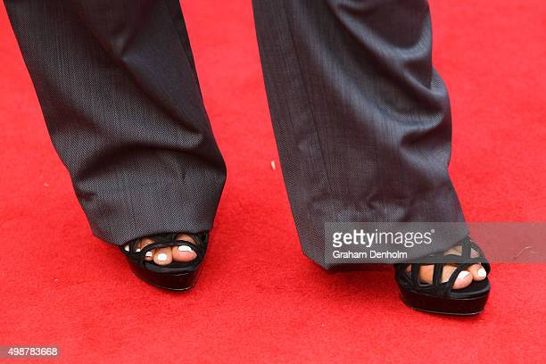 Detail of shoes worn by Jessica Mauboy arrives for the 29th Annual ARIA Awards 2015 at The Star on November 26 2015 in Sydney Australia