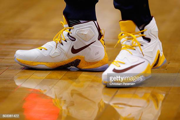 Detail of shoes worn by LeBron James of the Cleveland Cavaliers as he warms up before the NBA game against the Phoenix Suns at Talking Stick Resort...