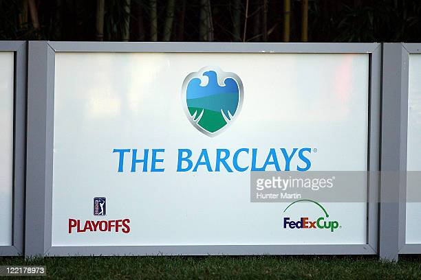 A detail of signage on the course with the official Barclays tournament logo is seen during round two of The Barclays at Plainfield Country Club on...