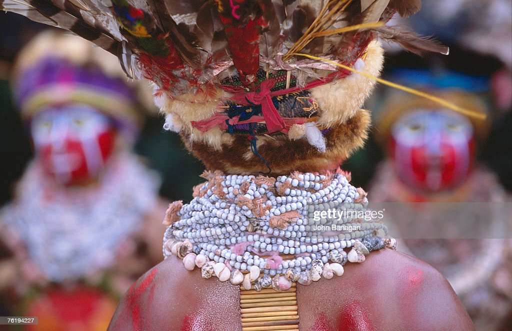 Detail of Sing Sing group member's jewellery and headdress, Mt Hagen Cultural Show, Mt Hagen, Western Highlands, Papua New Guinea, Pacific