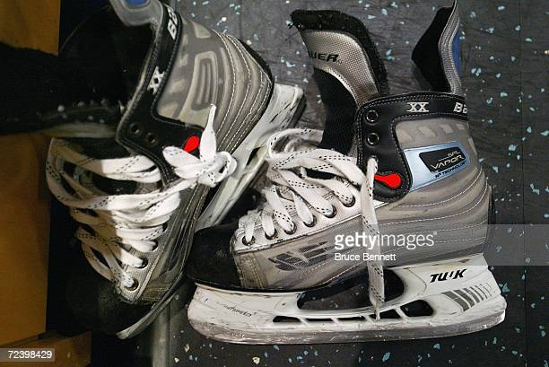 Detail of skates on the floor of the Columbus Blue Jackets locker room prior to the NHL game against the San Jose Sharks on October 23 2006 at the...