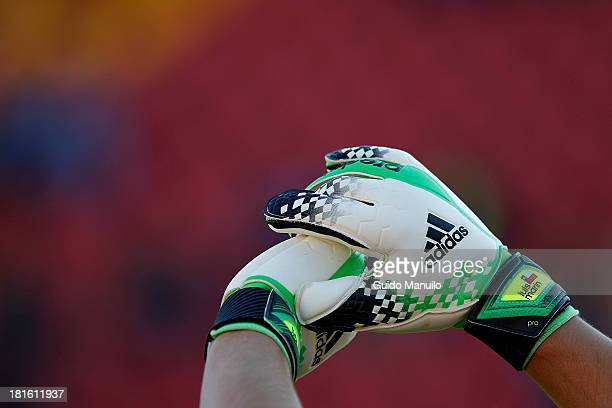 Detail of soccer gloves of Universidad de Chile´s goalkeeper Luis Marín during a match between U de Chile and Audax Italiano as part of the Torneo...