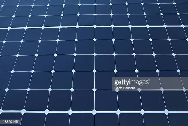 A detail of solar panels on a solar car on Day 1 of the 2013 Bridgestone World Solar Challenge on October 6 2013 in Darwin Australia Stella is the...