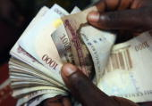 A detail of some Nigerian Naira being counted in an exchange office on July 15 2008 in Lagos Nigeria